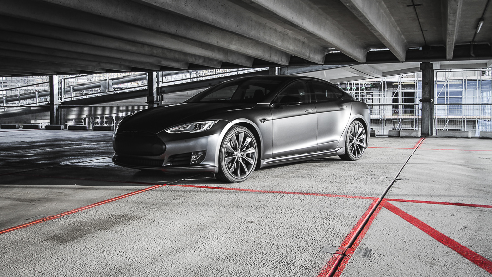 Tesla Carwrap 3M Satin Grey 11