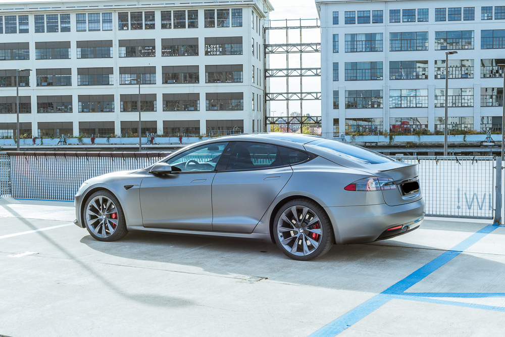 Tesla Carwrap Satin Grey 6