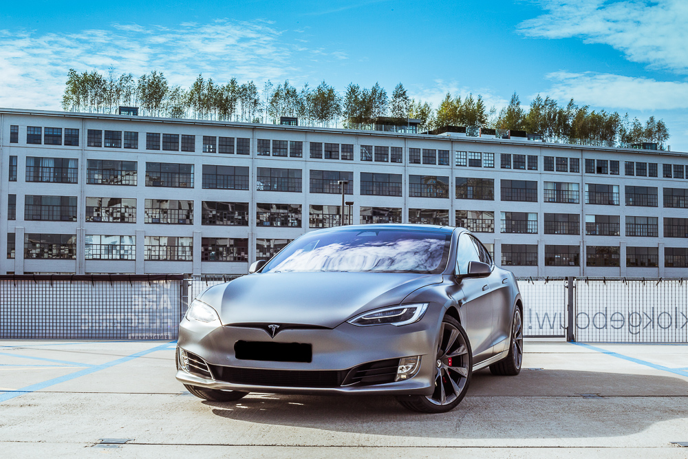 Tesla Carwrap Satin Grey 8
